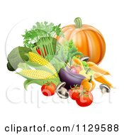 Clipart Of Fresh Harvest Vegetables Royalty Free Vector Illustration