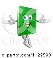 Cartoon Of A Happy Green Book Mascot Royalty Free Vector Clipart by AtStockIllustration
