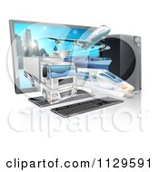 Clipart Of A Big Rig Airplane Cargo Ship And Train Emerging From A Desktop Computer Royalty Free Vector Illustration by AtStockIllustration