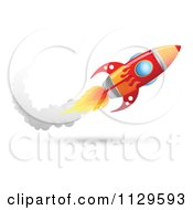 Cartoon Of A Red Rocket With A Trail Of Smoke Royalty Free Vector Clipart by Qiun