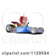 Clipart Of A 3d Red Robot Waving And Driving A Race Car Royalty Free CGI Illustration