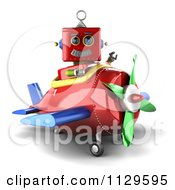 Clipart Of A 3d Red Robot Waving And Sitting In A Plane Royalty Free CGI Illustration by stockillustrations
