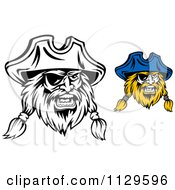 Clipart Of Angry Pirate Faces With Eye Patches 4 Royalty Free Vector Illustration