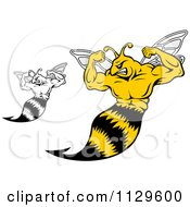 Clipart Of Black And White And Colored Strong Yellow Jackets Flexing Royalty Free Vector Illustration by Vector Tradition SM