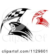 Clipart Of Black And White And Red Grim Reapers With Racing Flag Scythes Royalty Free Vector Illustration by Vector Tradition SM