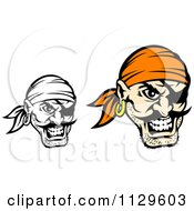 Clipart Of Angry Pirate Faces With Eye Patches 3 Royalty Free Vector Illustration