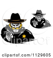 Clipart Of Cowboy Sherrifs Pointing Pistols Royalty Free Vector Illustration by Vector Tradition SM