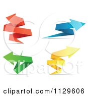 Clipart Of Colorful Origami Paper Arrows 3 Royalty Free Vector Illustration