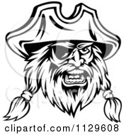 Clipart Of An Angry Black And White Pirate Face With An Eye Patch 4 Royalty Free Vector Illustration
