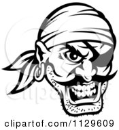 Clipart Of An Angry Black And White Pirate Face With An Eye Patch 3 Royalty Free Vector Illustration