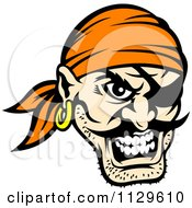 Clipart Of An Angry Pirate Face With An Eye Patch 3 Royalty Free Vector Illustration