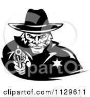 Clipart Of A Black And White Cowboy Sheriff Pointing A Pistol Royalty Free Vector Illustration