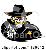 Clipart Of A Cowboy Sherrif Pointing A Pistol Royalty Free Vector Illustration by Vector Tradition SM