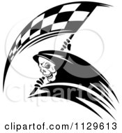 Clipart Of A Black And White Grim Reaper With A Racing Flag Scythe 2 Royalty Free Vector Illustration by Seamartini Graphics