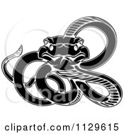 Clipart Of A Black And White Snake Royalty Free Vector Illustration