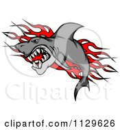 Clipart Of An Aggressive Shark Over Red Flames Royalty Free Vector Illustration