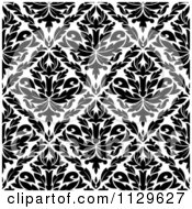 Clipart Of A Black And White Triangular Damask Pattern Seamless Background 26 Royalty Free Vector Illustration