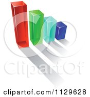 Clipart Of A 3d Colorful Bar Graph And Shadow 13 Royalty Free Vector Illustration