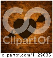 Clipart Of A Heart And Arrow Burnt Into Wood Panels Royalty Free Illustration