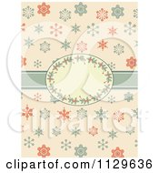 Clipart Of A Retro Christmas Background Of Snowflakes And A Holly Frame Royalty Free Vector Illustration by elaineitalia