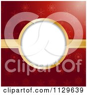 Clipart Of A Christmas Frame With Gold Ribbon Over Red Snowflakes Royalty Free Vector Illustration