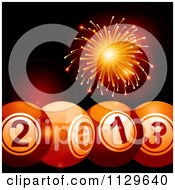 Clipart Of 2013 New Year Bingo Balls With Orange Fireworks Royalty Free Vector Illustration by elaineitalia