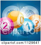 Clipart Of 2013 New Year Bingo Balls Over A Burst On Blue - Royalty Free Vector Illustration by elaineitalia