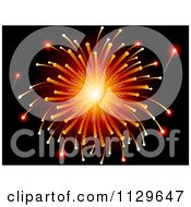 Clipart Of A Burst Of Orange Holiday Fireworks On Black Royalty Free Vector Illustration