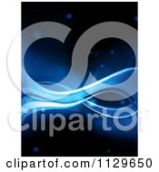 Clipart Of A Background Of Blue Waves With Mesh On Black Royalty Free Vector Illustration