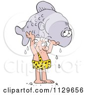 Cartoon Of A Caveman Proudly Holding Up A Giant Fish Royalty Free Vector Clipart
