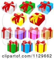 Clipart Of Colorful Gift Boxes With Red Ribbons And Bows Royalty Free Vector Illustration by dero