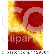 Clipart Of A Red And Gold Snowflake Curve Christmas Background Royalty Free Vector Illustration by dero
