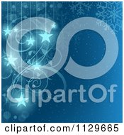 Clipart Of A Blue Snowflake Swirl And Star Christmas Background Royalty Free Vector Illustration by dero
