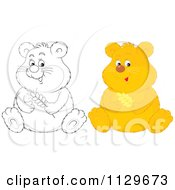 Cartoon Of Outlined And Colored Hamster Royalty Free Vector Clipart by Alex Bannykh