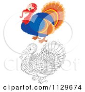 Cartoon Of Outlined And Colored Turkey Birds Royalty Free Vector Clipart by Alex Bannykh