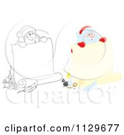 Cartoon Of Outlined And Colored Santas Holding Banners Royalty Free Clipart