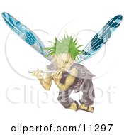Male Fairy With Green Hair And Blue Wings Flying And Playing A Flute