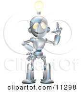 Friendly Futuristic Robot With An Idea And A Lightbulb Over His Head