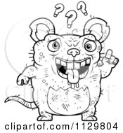 Cartoon Clipart Of An Outlined Confused Ugly Rat Black And White Vector Coloring Page by Cory Thoman