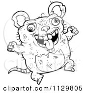 Cartoon Clipart Of An Outlined Jumping Ugly Rat Black And White Vector Coloring Page by Cory Thoman