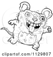 Cartoon Clipart Of An Outlined Running Ugly Rat Black And White Vector Coloring Page by Cory Thoman