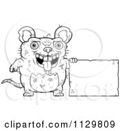 Cartoon Clipart Of An Outlined Ugly Rat With A Sign Black And White Vector Coloring Page by Cory Thoman