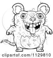 Cartoon Clipart Of An Outlined Drooling Ugly Rat Black And White Vector Coloring Page by Cory Thoman