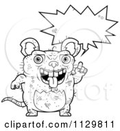 Cartoon Clipart Of An Outlined Talking Ugly Rat Black And White Vector Coloring Page by Cory Thoman
