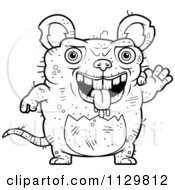 Cartoon Clipart Of An Outlined Waving Ugly Rat Black And White Vector Coloring Page by Cory Thoman