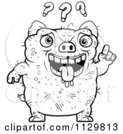 Cartoon Clipart Of An Outlined Confused Ugly Pig Black And White Vector Coloring Page by Cory Thoman