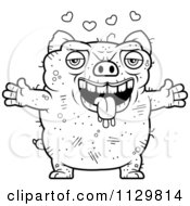 Cartoon Clipart Of An Outlined Amorous Ugly Pig Black And White Vector Coloring Page
