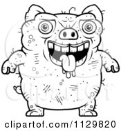 Cartoon Clipart Of An Outlined Ugly Pig Black And White Vector Coloring Page by Cory Thoman