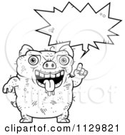 Cartoon Clipart Of An Outlined Ugly Pig Talking Black And White Vector Coloring Page by Cory Thoman