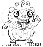 Cartoon Clipart Of An Outlined Confused Ugly Panda Black And White Vector Coloring Page by Cory Thoman